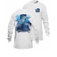 Bluza Flying Fisherman Sailfish Frenzy White Long Sleeve Tee L