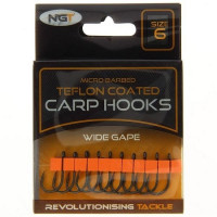 Carlige NGT Teflonate Wide Gape Carp Hooks, 10buc/plic Nr.6