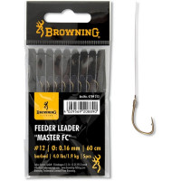 Carlige Legate Browning No.6 10cm 0.12mm Braid Feeder Leader Method Push Stop
