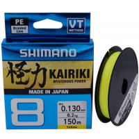 FIR TEXTIL SHIMANO KAIRIKI 8 BRAIDED LINE YELLOW 150M 0.16MM